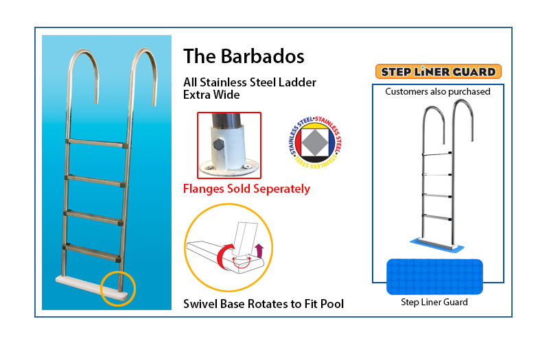 The Barbados stainless steel pool ladder