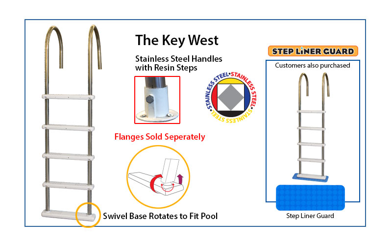 The Key West stainless steel pool ladder